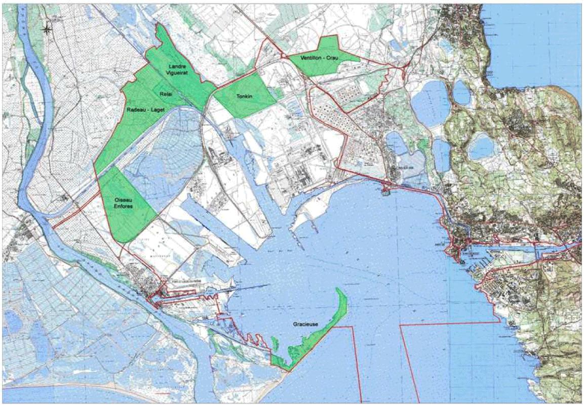Carte des espaces naturels de la couronne verte de la ZIP de Fos-sur-mer  (source PGEN du GPMM) ca265ab8928e1